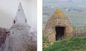 Historische Aufnahme eines Steinkegelturms in Ingelheim [Foto: Stadtarchiv Ingelheim] und ein Trullo inmitten rheinhesssicher Weinberge [Foto: Pia Steinbauer].